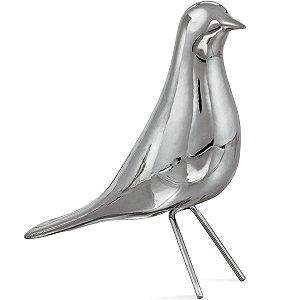 Pássaro Prata Decorativo 15cm Mart