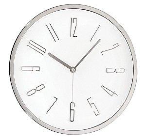 Relógio de Parede Prata Mart