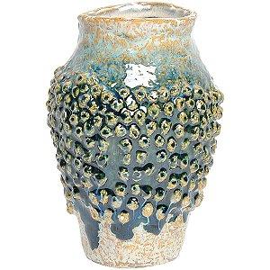 Vaso Decorativo Cerâmica Azul 20cm GS