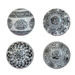 Conjunto 4 Bolas Decorativas Preto e Branco Ultramarine