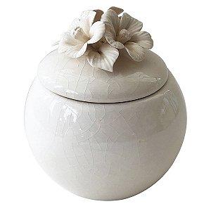 Pote Decorativo Flor Branco BTC