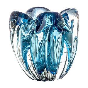 Cachepot Murano Charming Aquamarine PP Cristais Tavares