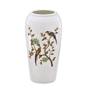 Vaso Decorativo Branco Pássaro 26cm Mabruk