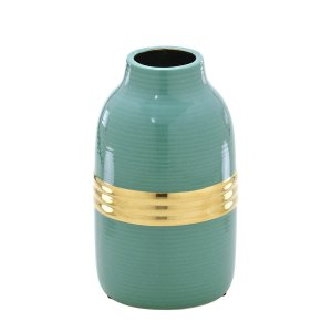 Vaso Decorativo Verde c/ Dourado 18cm Mabruk