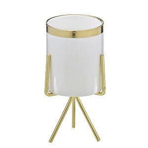 Cachepot Branco c/ Suporte Dourado 17cm Mabruk