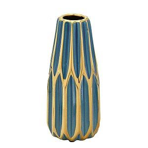 Vaso Decorativo Azul e Dourado 23cm Mabruk