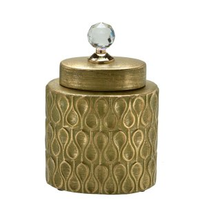 Potiche Cerâmica Dourado 25cm Mabruk