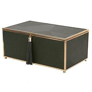 Caixa Decorativa Verde c/ Dourado 28cm Rojemac