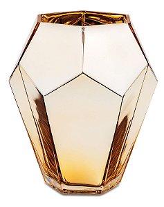 Vaso Diamante Vidro Dourado 20cm Mart