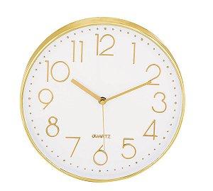 Relógio de Parede Dourado 30cm Mart