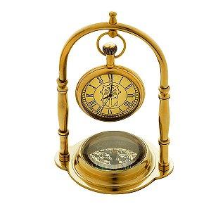 Relógio c/ Bússola Decorativa Dourado Rojemac