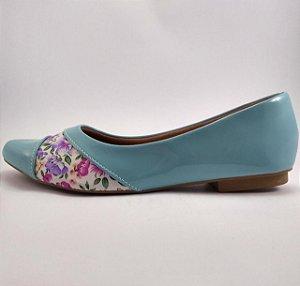 Sapatilha Feminina Bico Fino Azul Verniz Florido
