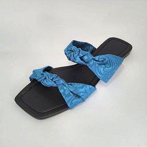 Rasteirinha Menina Mulher Azul Bico Quadrado