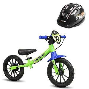 Bicicleta Balance Verde e Capacete Nathor Preto