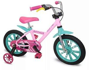 Bicicleta Aro 14 First Pró Freio a Disco Rosa e Verde