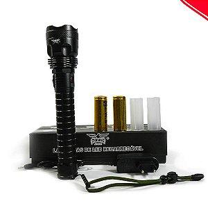Super Lanterna LED Tática T9 recarregável 2 baterias (Grandona)