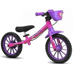 Bicicleta Equilíbrio Balance Bike Feminina Rosa