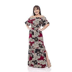 Vestido longo de viscose - Estampa de arabesco com animal print - marsala com preto