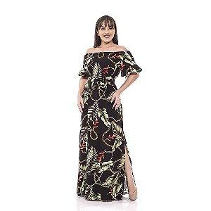 Vestido longo de viscose - Estampa de folhagens com correntes douradas.