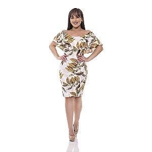 Vestido ciganinha - Suplex Digital  Estampa de folhas douradas