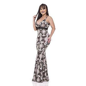 Vestido longo sereia - Suplex Digital - Estampa de corda com fundo no linho