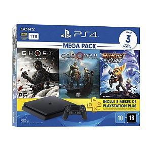 Console Playstation 4 Slim 1TB + 3 Jogos + 3 Meses Playstation Plus (Bundle Hits18) - Sony