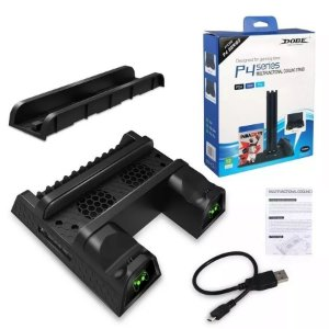 Base DOBE Multifuncional - Carregador de Controles e Cooler de Refrigeração para PS4, PS4 Pro, PS4 Slim