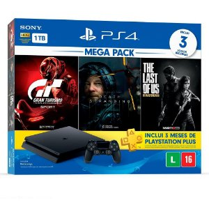Console PS4 1TB Bundle 10 - Gran Turismo + Death Stranding + The Last of Us - PS4