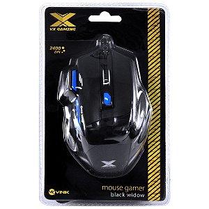 Mouse Gamer VX Gaming Black Window 2400 DPI e 06 Botões - Preto com Azul - USB