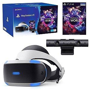 Óculos de Realidade Virtual Sony Playstation VR + VR Worlds + Playstation Câmera - ZVR2