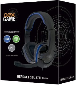Headset Gamer Oex Multiplataforma Stalker HS209 Preto/Azul