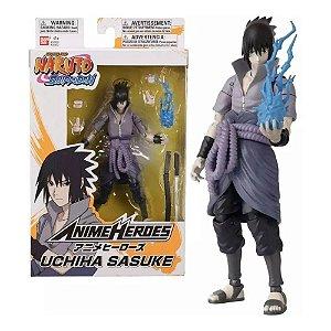 Boneco Articulado Sasuke Uchiha - Naruto Shippuden - Anime Heroes - Bandai