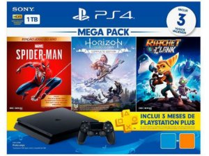 Console PlayStation 4 Slim 1TB + 3 Jogos + 3 Meses Playstation Plus (Bundle Hits 15) - Sony