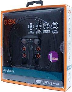 Fone de Ouvido Bluetooth Esportivo  Cross FN411 Preto - Oex