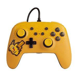 Controle Nintendo Switch Com Fio Pixel Pikachu PowerA