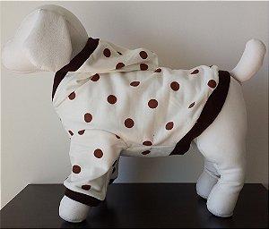 Roupinha para cachorro Petisco - Casaco Moletim Branco e Marrom Com Capuz