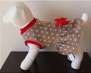 Roupinha para Cachorro Petisco - Vestido Fechado Soft Marrom com Poá Branco