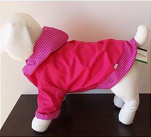 Roupinha para cachorro Petisco - Capa de Chuva Rosa com Forro Rosa