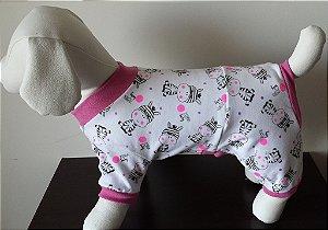 Roupinha para Cachorro Petisco - Pijama Tons Rosa