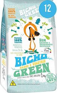 Bicho Green - Alimento 100% Vegetal  para Cães Adultos 12 Kg (Kit com 12 Pacotes de 1Kg)