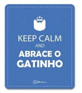 Placa Decorativa Azul - Keep Calm e Abrace o Gatinho - CatMyPet