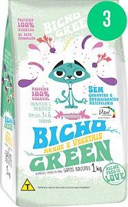 Bicho Green - Alimento 100% Vegetal para Gatos Adultos 3KG (Kit com 3 Pacotes de 1Kg)