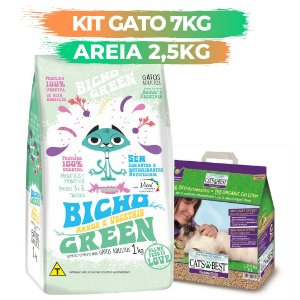 KIT BICHO GREEN GATO 7KG + AREIA CATS BEST GOLD 2,5KG