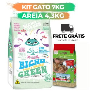 [ FRETE GRÁTIS ] - KIT BICHO GREEN GATO 7KG + AREIA CATS BEST 4,3KG