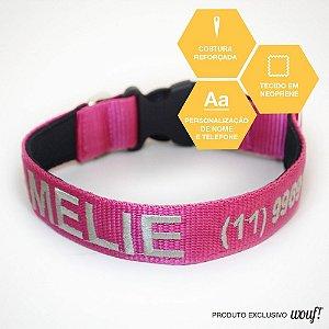 Coleira de Passeio e Identificação Personalizada - Pink