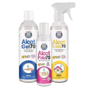 Kit Alcat 70 - Álcool Gel Pet, Casa e Humano