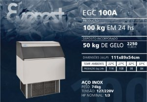MÁQUINA DE GELO  EVEREST EGC 100A