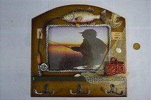 Porta retrato com porta objetos (pesca com mosca)