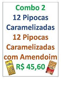 COMBO  PIPOCA CARAMELIZADA - CAIXA COM 24 UNIDADES - 12 PIPOCAS CARAMELIZADA 65G + 12 PIPOCAS GOURMET AMENDOIM 50G