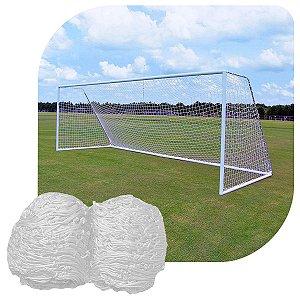 Par de Rede Para Gol Futebol de Campo Sob Medida Fio 4mm Malha 12cm Seda